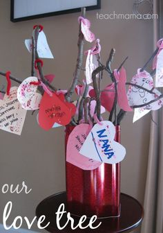 our love tree   fun, homemade valentine's day family fun   @Amy Lyons Lyons Lyons Lyons mascott @Amy Lyons Lyons Lyons mascott @Amy Lyons Lyons mascott @Amy Lyons mascott @amy mascott @teachmama #weteach valentine day crafts, kid idea, tree, famili, small group activities, display, homemade valentines, branches, preschool