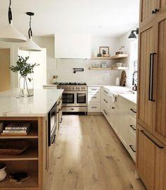 honest view of dream house rooms kitchens layout islands Home Decor Kitchen, Kitchen Interior, New Kitchen, Home Kitchens, Kitchen Layout, White Oak Kitchen, Rental Kitchen, Farmhouse Kitchens, Little Kitchen