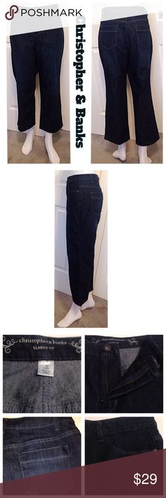 """NWOT, Christopher & Banks Classic Fit, Crop Jeans BRAND NEW, Tags Were Removed, Christopher & Banks Dark Denim, Classic Fit, Ankle Cropped Jeans. See 4th & 5th pics for classic fit details. Great Jeans with a flattering & slimming look. 70% cotton, 28% polyester & 2% spandex fabric.✅Waist 33"""", Rise 11"""", Length 35.50, Inseam 25"""". 5 pockets, silver stud hardware on front pockets, button zip close with Gorgeous stitched trimming. BRAND NEW! Great value and a classic timeless style. PRICE FIRM…"""