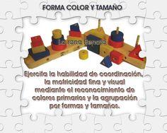 didácticos en madera - Forma color y tamaño.  laranarenata.com.ar