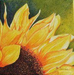 Sunflower Up Close Painting - Sunflower Up Close Fine Art Print Acrylic Painting Flowers, Acrylic Art, Watercolor Flowers, Watercolor Paintings, Sunflower Watercolour, Acrylic Paintings, Watercolors, Sunflower Canvas, Sunflower Paintings