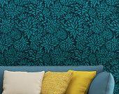 Flower Petal Damask Allover Wall Stencil for Easy DIY Wallpaper Decor