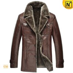 Mens Fur Lined Sheepskin Shearling Coat CW868821 $1485.89 - www.cwmalls.com