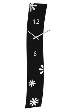 Hometime Wall Clock Wavy Black Glass