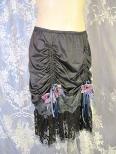 Black Up-cycled Slip Skirt with Rouching and Black by getjuliet
