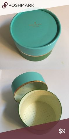 """BRAND NEW Kate Spade JEWELRY GIFT Box Make your gift pop! Brand New Box. Golden edges lid. 3 1/2"""" height and 4 1/2"""" Diameter (width). Ready to ship and reasonable offers are considered. Bundle 2+ items for additional savings and to pay just one shipping charge. No trades please. kate spade Jewelry"""