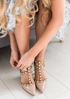 Nude Studded Heels, JessaKae, New Arrivals, Nude Heels, Shoes, Studded Heels, Comfy Heels, Heels, Womens Fashion, Womens Style, Fashion, Style, Ruffle Dress, Spring, Spring Dress, Easter, Easter Dress, Flowers, Hair, Blonde