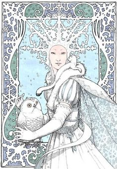 And so we come to the third and final installment of the Best of 'The Snow Queen' Art, and we definitely are going out with a bang. Our first featured artist is Adrienne Ségur, a French… Yule, Snow Queen, Ice Queen, Alphonse Mucha, Art And Illustration, Queen Art, Fairytale Art, Winter Solstice, Fantasy Art