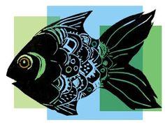 paintings prints and stuff: linoprint fish and digital experiments