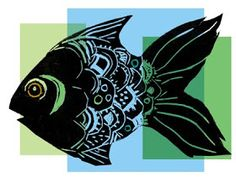 paintings prints and stuff: linoprint fish and digital experiments