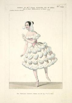 Costume de Melle Fanny Essler [sic], rôle de Adda, dans La chatte métamorphosée en femme. Ballet. Academie Royale de Mus...  [Chatte métamorphosée en femme.] ([1837])