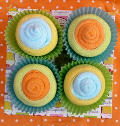 4 pack of Baby Cupcakes: Unisex Baby Gift- Neutral Colors