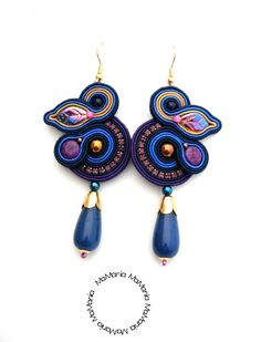 kolczyki sutasz Soutache Earrings, Diy Earrings, Shibori, Jewerly, Diy And Crafts, Handmade Jewelry, Pearls, My Love, Fashion