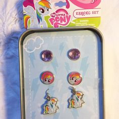 New my little pony earrings set Brand new with tags. Never opened. New my little pony earrings set with collectible tin box. No trades Jewelry Earrings