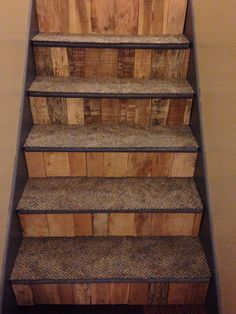 My way of making my ugly stairs look better. Pallets on riser backs. Tile Stairs, Metal Stairs, Basement Stairs, Basement Ideas, Metal Barn Homes, Metal Building Homes, Pole Barn Homes, Pallet Stairs, Rustic Stairs