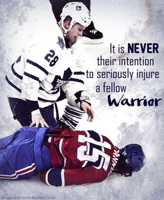 """You can see the fear in Colton Orr's eyes when he sees George Parros motionless.The compassion from a Hockey player is not a rare occasion, because they know that it was never their intention to seriously injure a fellow warrior.This is Hockey. And we will never be what we seem to people who don't understand the game."""