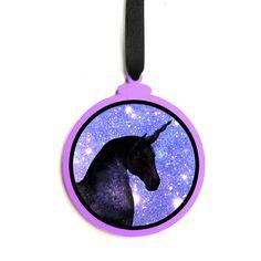Purple Galaxy Unicorn Funny Christmas Ornament  by SnarkFactory
