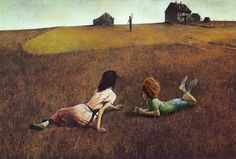"Walt chatting with Christina in Andrew Wyeth's ""Christina's World"" (concept painting only)"