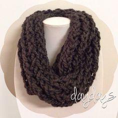 dark warm grey chunky knit infinity scarf on Etsy, $30.00