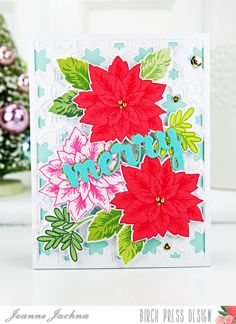 A Kept Life: Visions of Sugar Plums - Birch Press Design Poinsettias #card #cardmaking #birchpressdesign #Sevilla, Snowfall, #Poinsettia #stamp #stamping