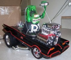 """Rat Fink in the 1966 Batmobile. The Art of Ed """"Big Daddy"""" Roth and George Barris combined in one diecast model Ed Roth Art, Rat Fink, Model Cars Kits, Weird Cars, Kustom Kulture, Diecast Models, Hot Cars, Vintage Toys, Vintage Stuff"""