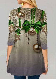 Christmas Print Round Neck Long Sleeve T Shirt Oversized Sweater Outfit, Neck Pattern, Boho Fashion, Womens Fashion, Neck T Shirt, Christmas Print, Shirt Style, Knitwear, Long Sleeve Shirts