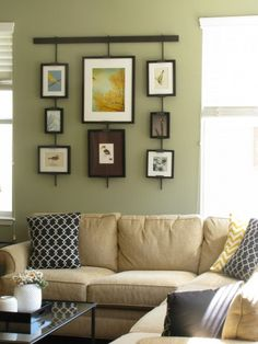 Living Room Green Walls Tan Couch With Black Accents Love The Pillows