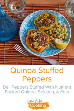 Bright bell peppers are stuffed with a delicious and nutrient-packed filling of quinoa, spinach and feta in this vegetarian delight. A light, lemony chick pea salad is loaded with fresh flavors!