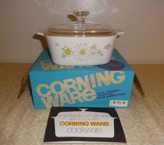 Vintage Corning Ware FLORAL 1 1/2 QT Casserole Dish with ORIGINAL BOX #CorningWare