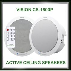 Vision Wireless Ceiling Speakers boast RMS Bluetooth or Wired inputs and Remote. Bluetooth, Audio Visual Installation, Plates On Wall, House Ideas