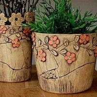 Zboží prodejce lavender / Zboží   Fler.cz Outdoor Planters, Planter Pots, Slab Pottery, Sgraffito, Bottle Art, Clay Art, Ceramic Art, Wood Art, Terracotta