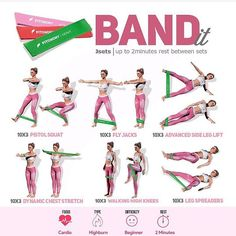 bands help with strengthening, flexibility, mobility, muscle power and plyometrics training and they are suitable and adaptable… band workout Fitness Workouts, Sport Fitness, Butt Workout, At Home Workouts, Fitness Motivation, Arm Workout With Bands, Resitance Band Workout, Inner Leg Workouts, Inner Thight Workout