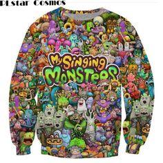 >> Click to Buy << PLstar Cosmos 2017 fashion Women/Men sweatshirts Cartoon My Singing Monsters Character Collage 3d printed Crewneck Sweatshirt #Affiliate