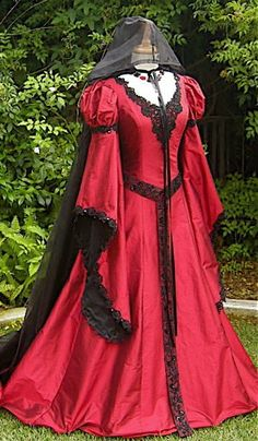 Medieval or Victorian dresses in blasphemous colours FTW!    Red Medieval Wedding Gown- Gothic Alternative Wedding Gown- custom $850