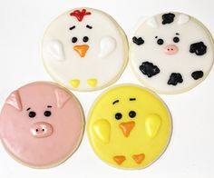 Cow cookies, pig cookies, chick cookies, and chicken cookies! Farm Cookies, Meat Markets, Year Of The Pig, Baby Shower Cookies, Farm Animals, Bakery, Birthdays, Chicken, 1 Year