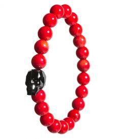 Red coral, swarovski skull