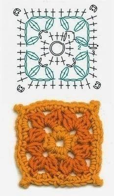 Схемы квадратиков. Эти фрагменты можно использовать для вязания пледов, сумочек, покрывал, украшения одежды