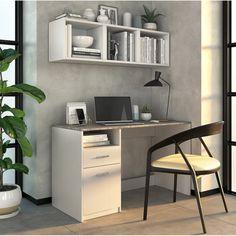 Aesthetic Rooms, Room Inspiration, Office Desk, Corner Desk, Loft, Black And White, Bedroom, House, Furniture