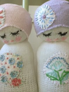 Cutest little baby rattles made with scraps of vintage fabric