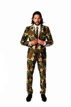 Males's OppoSuits Slim-Match Commando Camouflage Swimsuit & Tie Set - Best Suit's Camo Suit, Camouflage Suit, Pantalon Costume, Tall Pants, Three Piece Suit, 3 Piece, Suit And Tie, Slim Fit, Mens Suits