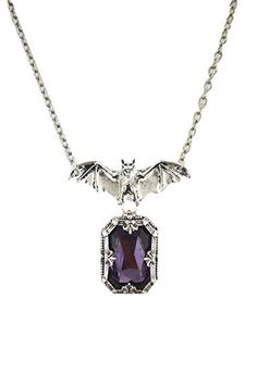 Restyle Gothic Vampire Night Whisper Bat and Purple Chunky Gemstone Pendant Necklace Goth Jewelry, Fantasy Jewelry, Jewellery, Bridal Accessories, Jewelry Accessories, Gothic Accessories, Night Whispers, Gemstone Necklace, Pendant Necklace