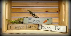 "This set of 3 Easter / Spring stackable signs measure 9"" Long by 2"" High. They look great on a shelf, window sill, atop of a door or just randomly scattered. On"