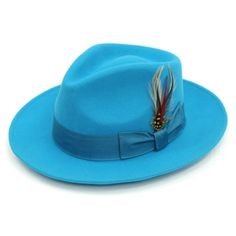 bcbb6acfe82 Ferrecci Men s Turquoise Wool Fully Lined Fedora Hat Hats For Men
