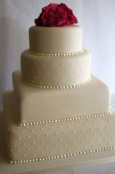 Simple Elegant Cake 4 tier ivory wedding cake with piping detail and monogram ...