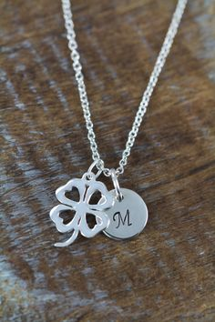 Items similar to Good Luck Four Leaf Clover Initial Necklace - 925 Sterling Silver Jewelry on Etsy Flower Girl Jewelry, Flower Girl Gifts, Flower Girls, Sterling Silver Chains, Silver Jewelry, Four Leaf Clover Necklace, Jewelry Gifts, Jewellery, Spiritual Jewelry