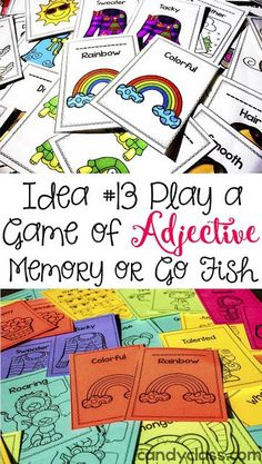 Looking for some fun grammar activities for teaching about adjectives? From adjective game cards to create a monster posters, you will find many engaging ELA activities for your first grade and second grade classroom. Adjective Games, Adjectives Activities, Grammar Activities, Writing Activities, Fun Activities, Adjectives Grammar, Literacy Games, Writing Strategies, Adverbs