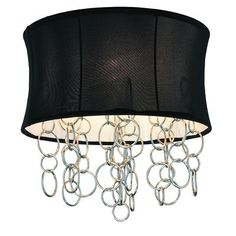GEN-LITE Halo Ceiling Fixture With Chrome Metal Rings - Black Shade ($109.15)