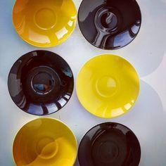 """Polubienia: 9, komentarze: 0 – modern (@modern_old2new) na Instagramie: """"Pottery set of 6 small plates to cake or to cups made in Norway by Inger Waage in 60s in…"""" Yellow Plates, Small Plates, Norway, Scandinavian, Cups, Pottery, Tableware, Modern, How To Make"""