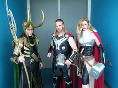 Thor, Loki, and Lady Thor - one of the most stunningly accurate cosplays I've ever seen. They even look like the actors.