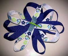 Blue+&+white+butterfly/dragonfly+bow+by+VannahsCloset+on+Etsy,+$4.50